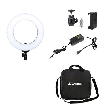 ZOMEI Photography Lighting 14inch 18inch Video Photo Studio Kit LED Ring Light For Professional Camera 5500K EU plug With Holder