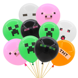 """10pcs/set 12"""" Pixelated Red Green Pink Pig TNT Balloon Game Latex Party Balloons Birthday Party Decorations Toys For Kids Globos(China)"""