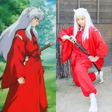 Japanese Anime Inuyasha red kimono men and women stage props gray wigs Cosplay red clothes Halloween Inuyasha costume(China)