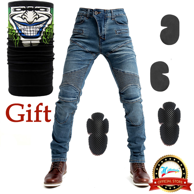 2019 New 718 Motorcycle Pants Men Moto Jeans Protective Gear Riding Touring Motorbike Trousers Motocross Pants Blue/Black Pants image