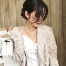 2019 Multi-layer Imitation Irregular Baroque Pearls Chain Metal Beads Line Lock Necklace for Women Jewelry