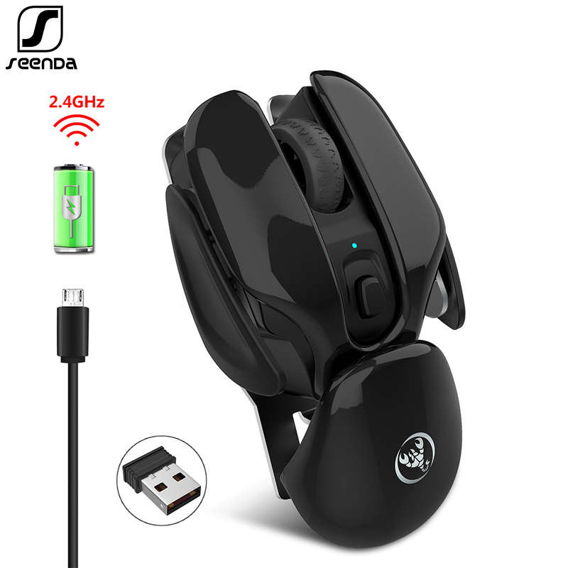 SeenDa Rechargeable Wireless Mouse Silent Click Design USB Wireless Mouse For Laptop Notebook Desktop 1600dpi Adjustable