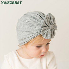 New Spring Autumn Cotton Baby Hat Bowknot Kids Cap Baby Hat Scarf for Boys Girls Warm Solid Color Children Hat Cap