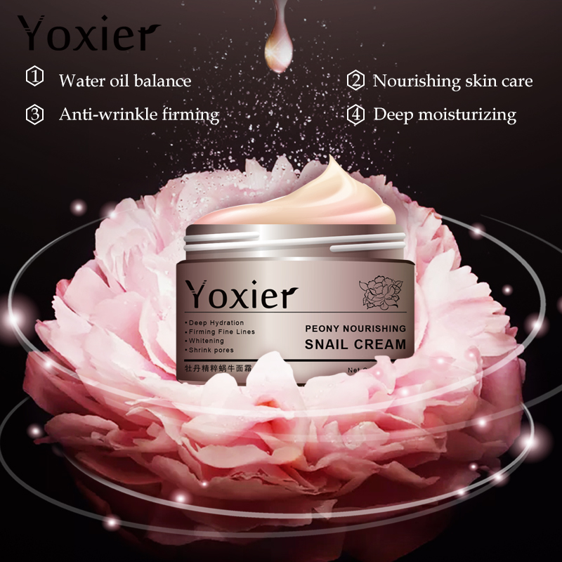 Yoxier Peony Nourishing Snail Cream Anti Aging Face Cream Wrinkle Whitening Moisturizing Oil Control Skin Care 3PCS LOT