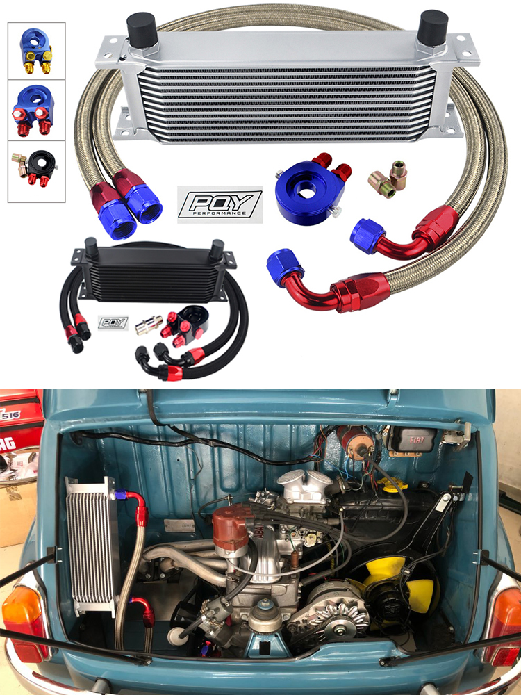 HOSE STICKER Oil-Cooler-Kit Sandwich-Adapter BRAIDED UNIVERSAL AN10 13-Rows BOX Stainless-Steel