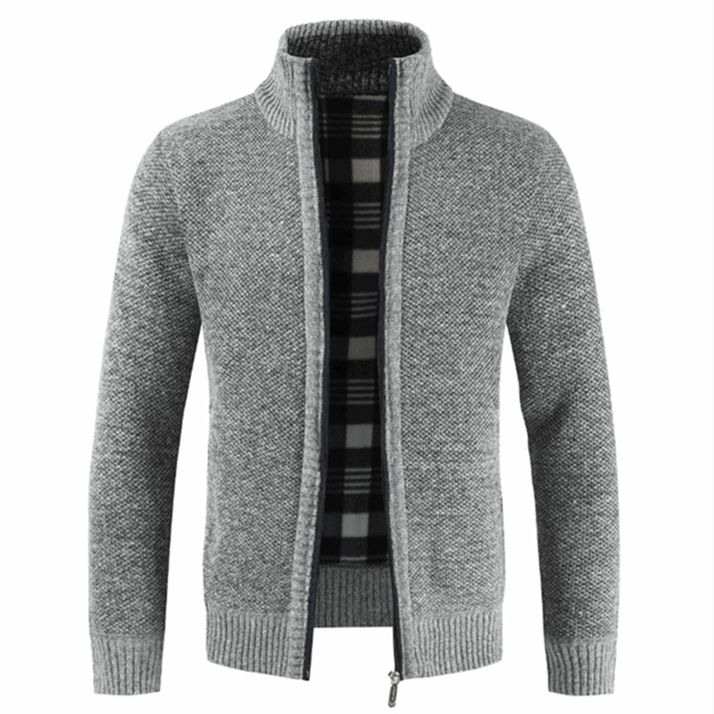 Mens Slim Fit Packable Sweater Long Sleeve Thick Stand Collar Jacket Autumn Coat