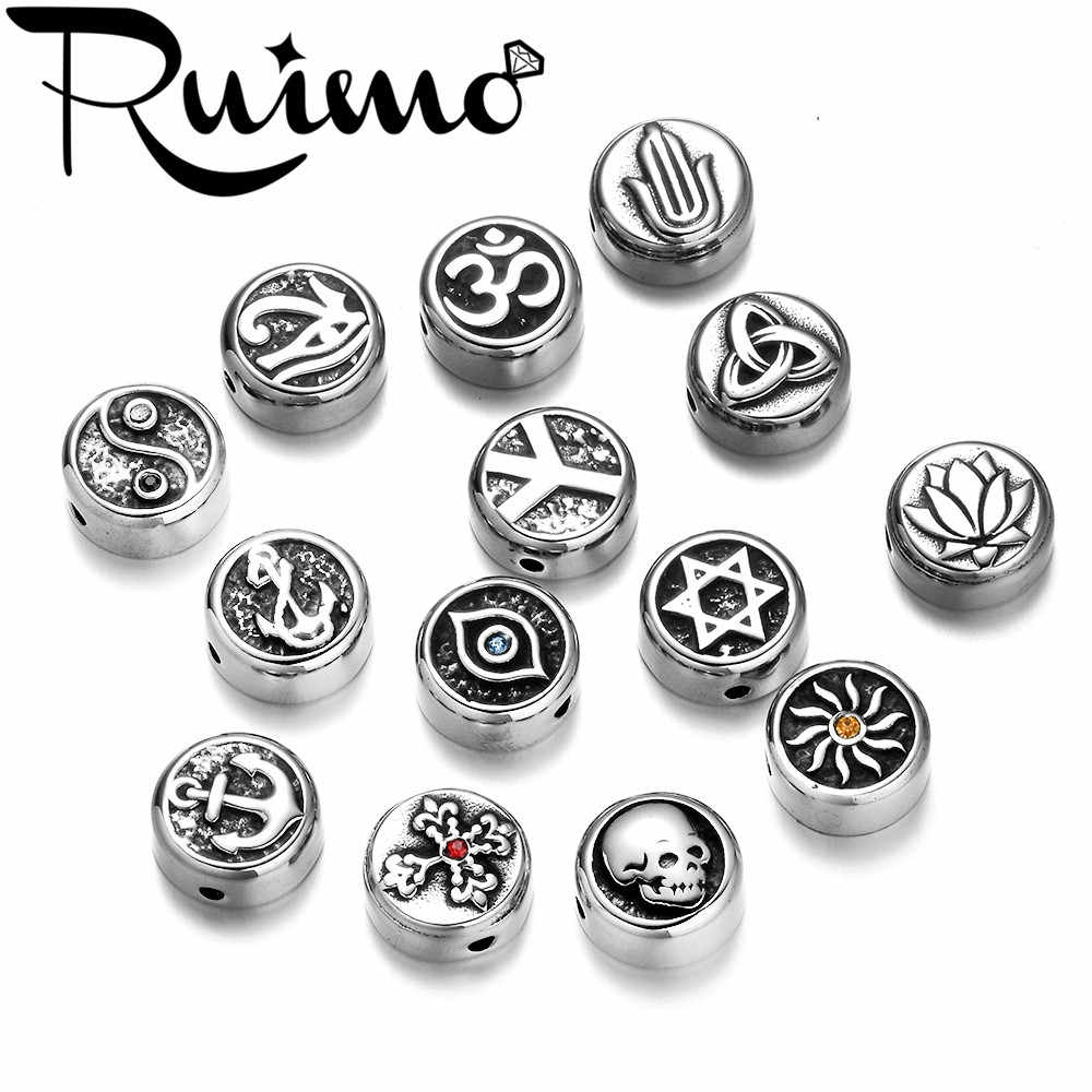 RUIMO  Charm European Beads Metal Rye Of Horus Peace Sign Celtics Stainless Steel Beads For Jewelry Making