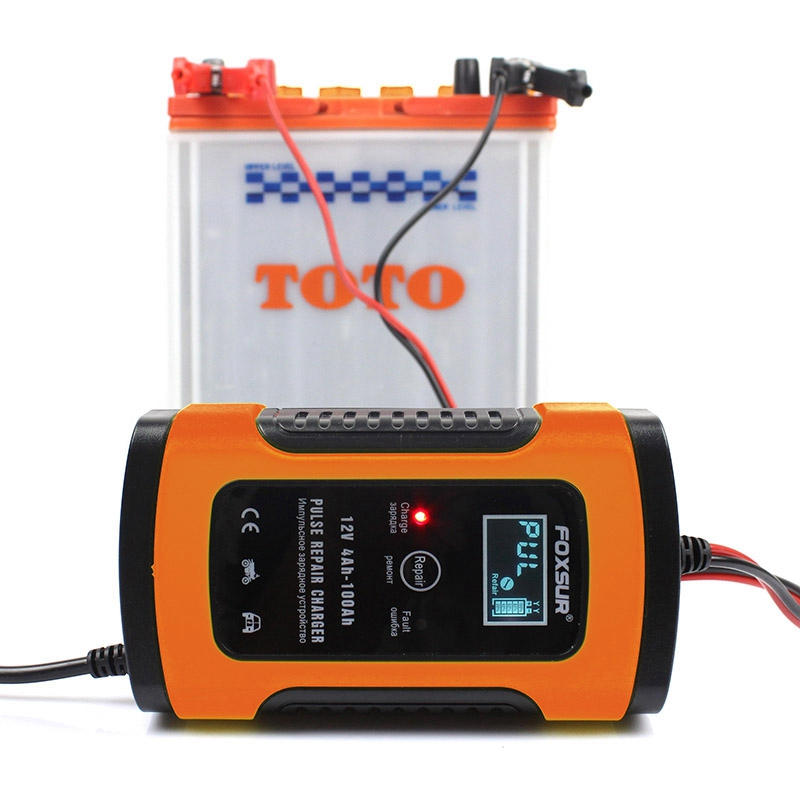 Foxsur 12V Universal Battery Charger Repair Type 12Ah 36Ah 45Ah 60Ah 100Ah Pulse Repair Battery Charger Lcd Display—