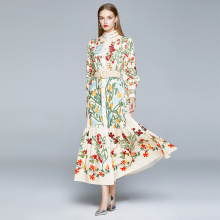 2020 Autumn Runway Maxi Dress Women's Long Sleeve Stand Gorgeous Flower Print Long Dress Female Buttons up Sashes Holidays Dress