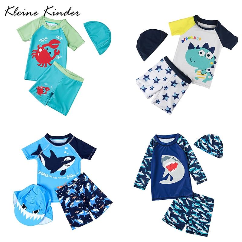 UPF50+ Three Pieces Swimsuits For Boys Dinosaur Shark Children Short Sleeved Rash Guard Bathing Suit Toddler Baby Boy Swimwear