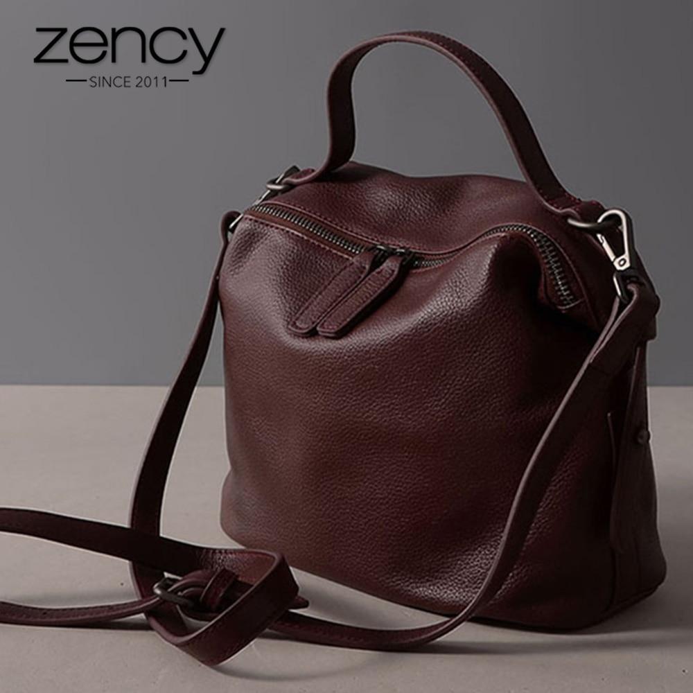 Zency 100% Genuine Leather Retro Black Women Handbag Lady Casual Tote Grey Shoulder Bag Fashion Female Crossbody Messenger Purse