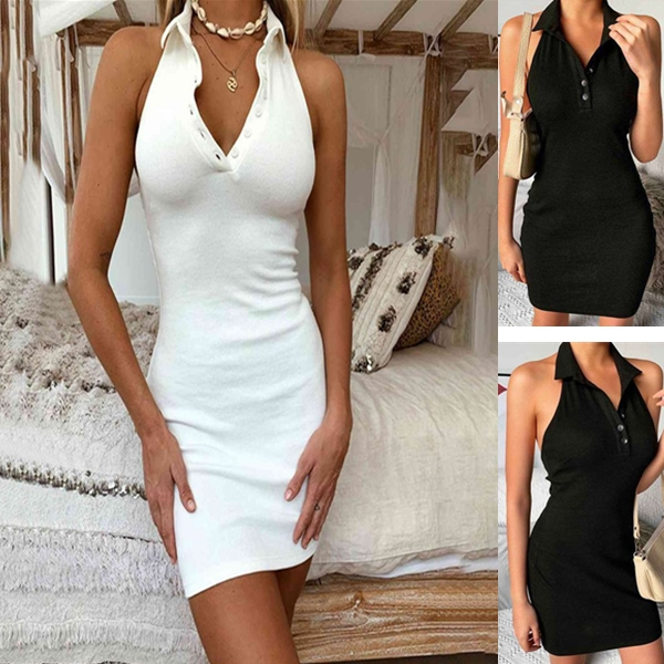 Halter V-Neck Mini Dresses Front Button Backless Elastic Knitted Sexy Sleeveless Off Shoulder Dress