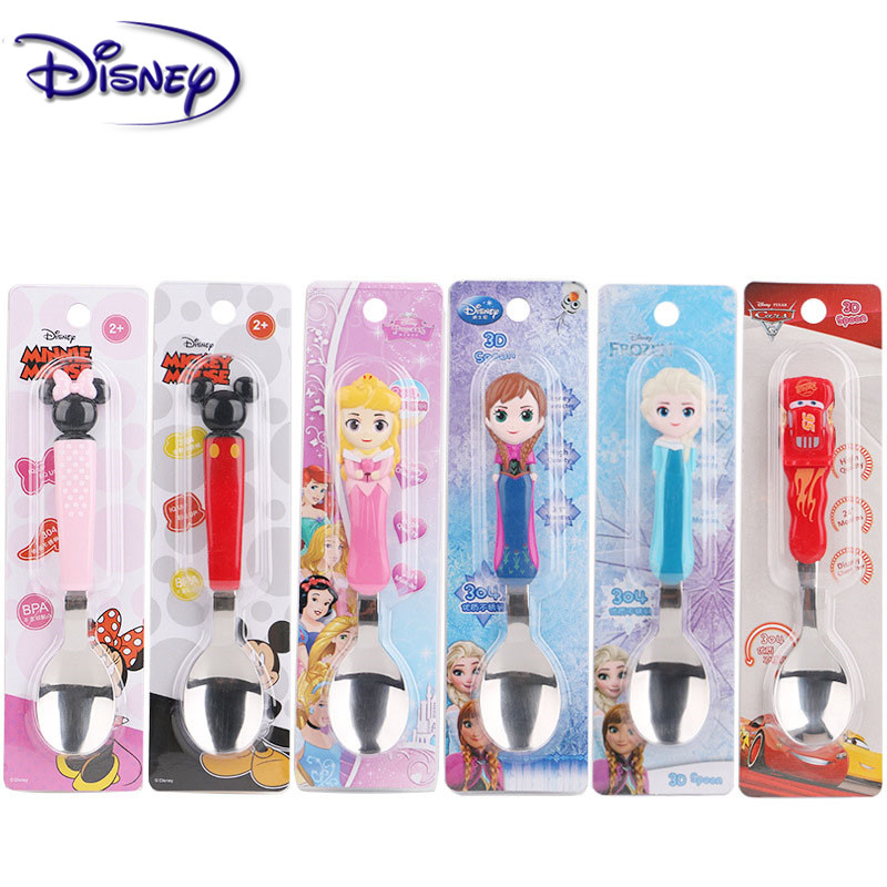 Disney Stainless Steel Cartoon Kids Minnie Soup Spoon Children Tableware Dinnerware Baby Feeding Cutlery Disney Series