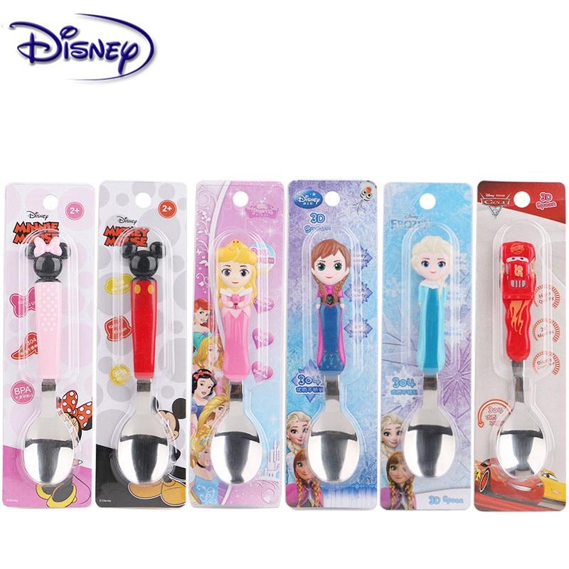 Disney Stainless Steel Cartoon Kids Minnie Soup Spoon Children Tableware Dinnerware Baby Feeding Cutlery Disney Series