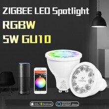 GLEDOPTO المنزل الذكي RGB ودافئ الأبيض GU10 الأضواء زيجبي 5 واط RGBW GU10 لمبة AC100 240V العمل مع الأمازون صدى زائد الذكية