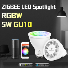 Gledopto casa inteligente rgb e branco morno gu10 spotlight zigbee 5w rgbw gu10 bulbo AC100 240V trabalho com amazon echo mais smartthings