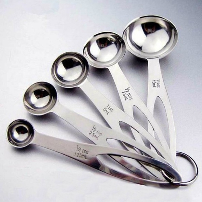 5 pcs measuring spoon stainless steel coffee measuring spoons Tea cuchara <font><b>colher</b></font> medidora ZA image