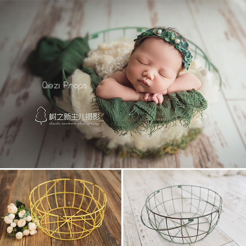 Baby Fotografie Props Color Wire Basket Retro Container Baby Props For Photography Shoot Newborn Photo Bed Decoration Fotografia