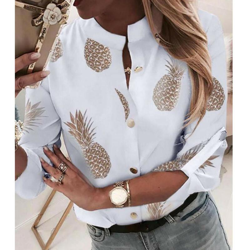 Fashion Women Long Sleeve Gold Pineapple Print Blouse V Neck Shirt Office Ladies Party Elegant Streetwear femininas Plus Size 6