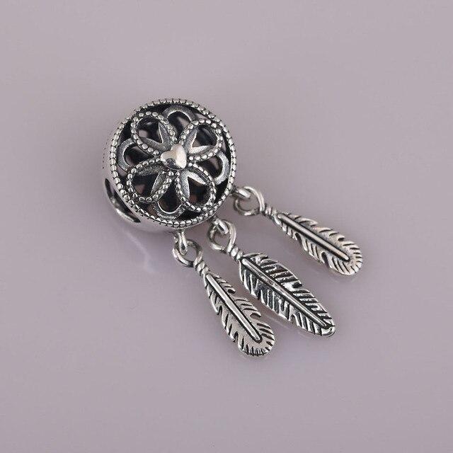 S925  Pendant Openwork Bead fit Pandora Bracelet Spiritual Dream catcher Dangle Charm DIY Jewelry