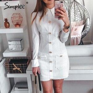 Image 2 - Simplee plus size bodycon vestido streetwear retalhos único breasted escritório vestido elegante senhoras outono blazer mini vestido
