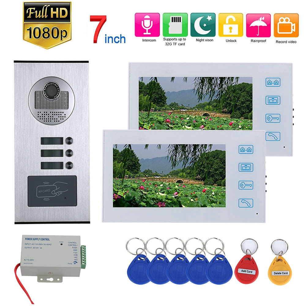 7inch TFT Record Video Intercom 2 Apartments Video Door Phone Intercom System With RFID HD 1080P Doorbell Waterproof IR Camera