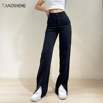 Spodnie dla kobiet 2021 nowe spodnie z wysokim stanem damskie garsonki moda luźne proste nogawki pełnej długości Casual Vintage Streetwear tanie i dobre opinie BIAO SHENG COTTON REGULAR Pełna długość NONE CN (pochodzenie) Lato HIGH BS424 Stałe Na co dzień Mieszkanie Dla osób w wieku 18-35 lat