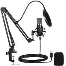 Microphone,Cardioid Condenser Microphone Kit,with Boom Arm Shock Absorber Bracket Blowout Prevention Net,for Game,Record