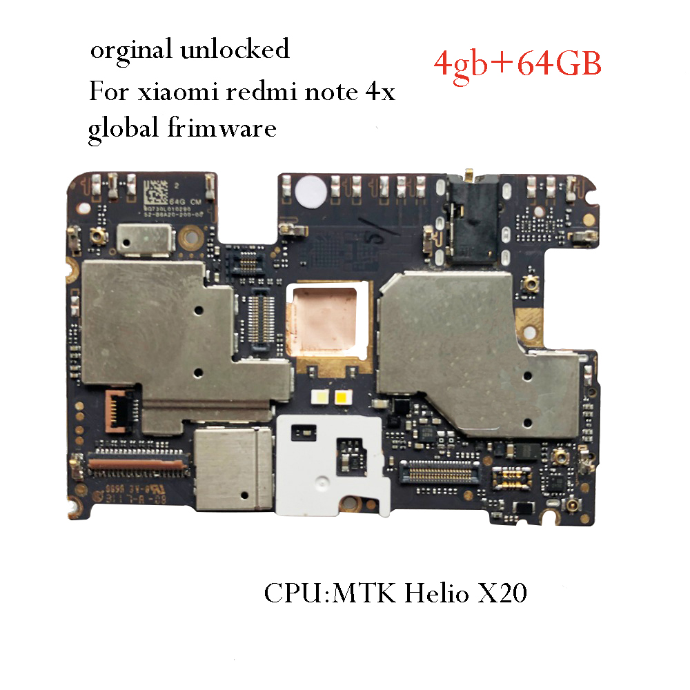 unlocked mainboard <font><b>Motherboard</b></font> For <font><b>Xiaomi</b></font> <font><b>Redmi</b></font> <font><b>NOTE</b></font> <font><b>4X</b></font> <font><b>note</b></font> 4 Global Version MTK Helio X20 4GB 64GB Global Firmware image