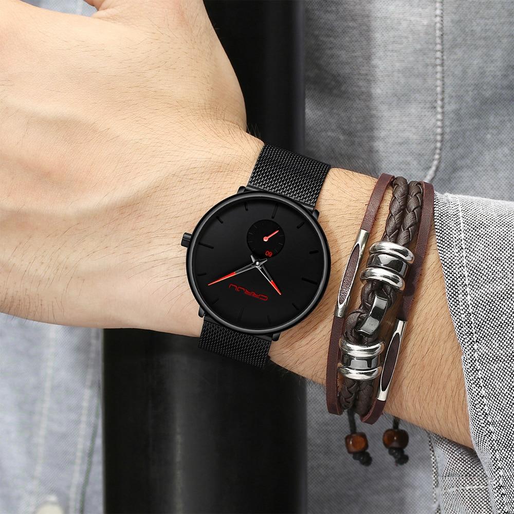 H7a2390abc5024739b862fdf8f411fbf7k CRRJU Ultra Thin Blue Stainless steel Quartz Watches Men Simple Fashion Business Japan Wristwatch Clock Male Relogio Masculino