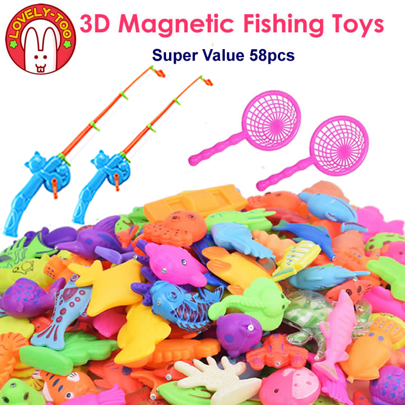 Magnetic Fishing Toys For Kids Miraculous Fish Toddler Games With Rod Net Tricks Fun Outdoor Fishing Stuff Toy For Children image