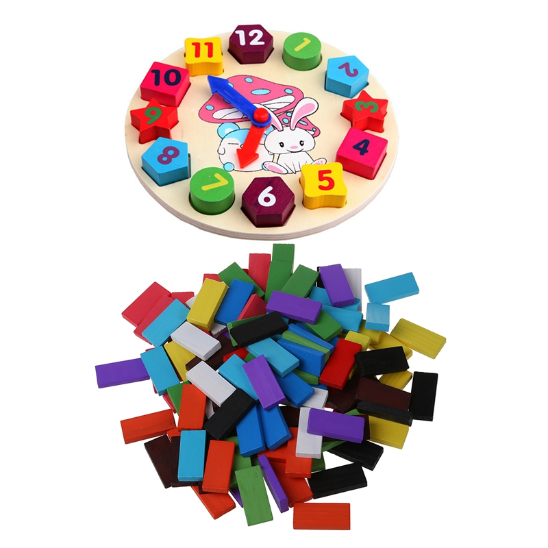 2 Set Baby Kids Wooden Toys Digital Geometry Clock Educational Toy Blocks Toys & Pack Of 120 Mix Wooden Kids Children Domino