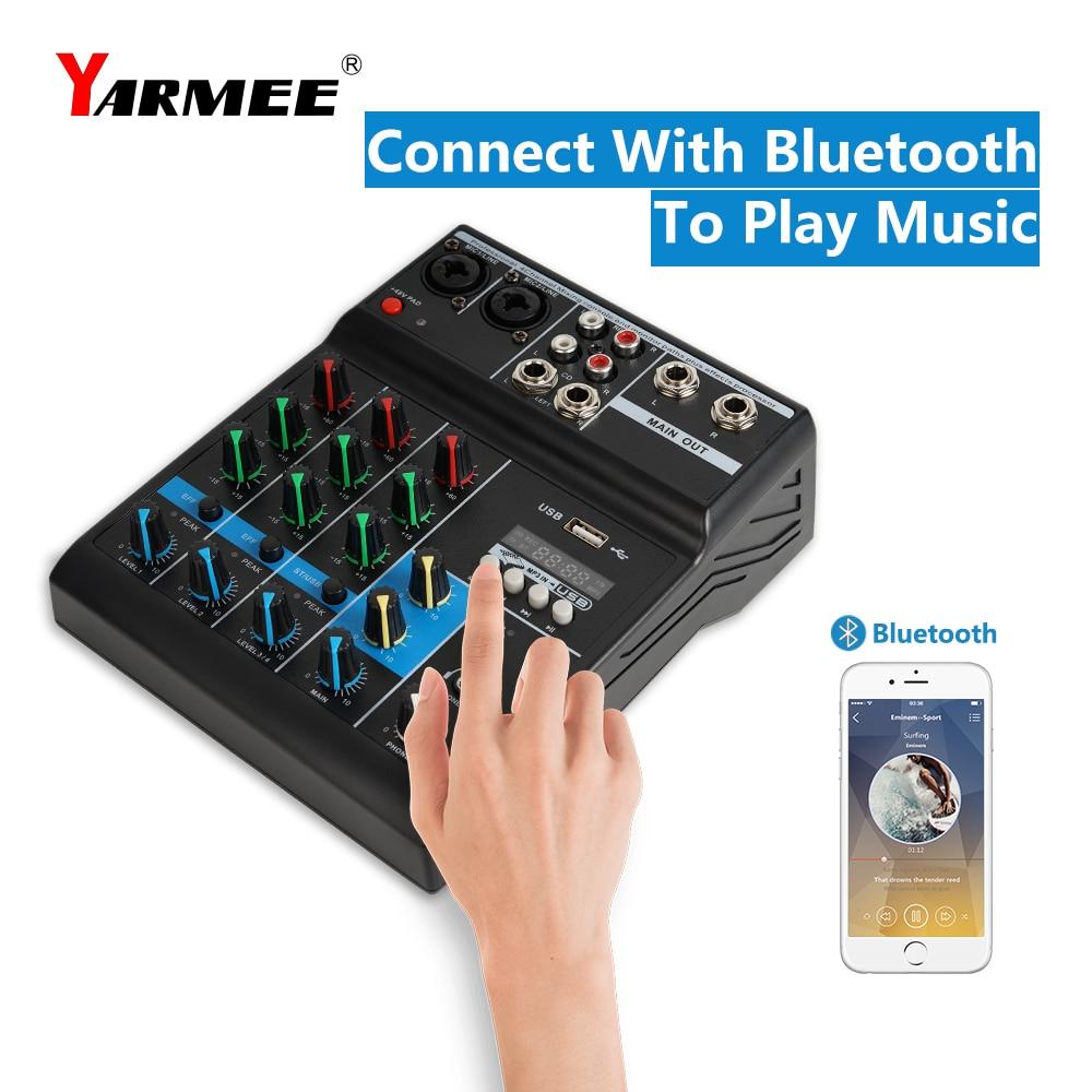 4 Channels sound mixer audio mixer support 48V phantom power bluetooth mixer OM03 YARMEE