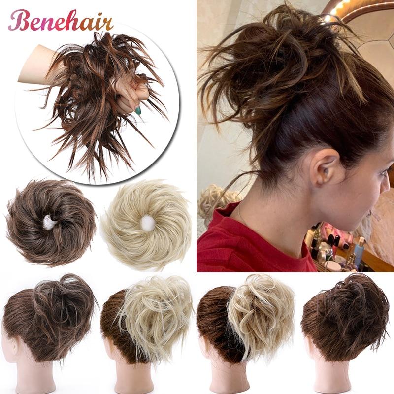 Benehair 45g Messy Hair Bun Women Donut Chignon Scrunchy Hair Bun Elastic Band Synthetic Hair Extension Fake Hairpiece For Women Synthetic Chignon Aliexpress