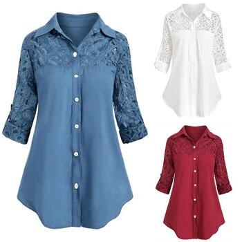 Camisas con botones de Panel de encaje sólido para las mujeres 2020 blusas de túnica holgadas de manga 3/4 cuello vuelto Casual de primavera 5XL de talla grande