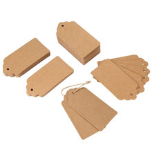 100PCS/Lot Chritmas Decor Natural Brown Kraft Paper Tags With Jute Twine For DIY Gifts Crafts Price Tags Luggage Tags Name Tags(China)