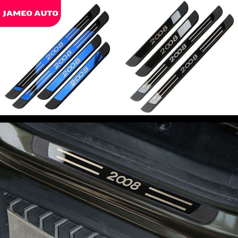 4 Pcs Set ABS and Stainless Steel Inner Door Sill Scuff Plates Fit for Peugeot 2008 2014 - 2019 Car Accessories