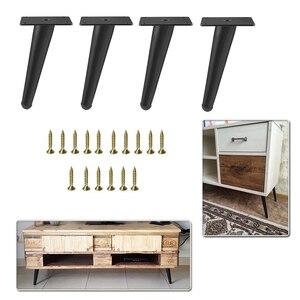 Image 1 - Patas de Metal para muebles, patas de hierro dorado Negro para sofá, mesa oblicua, pie de mesa de 12/15/17/20/25/30/36/38/42cm de altura, 4 Uds.