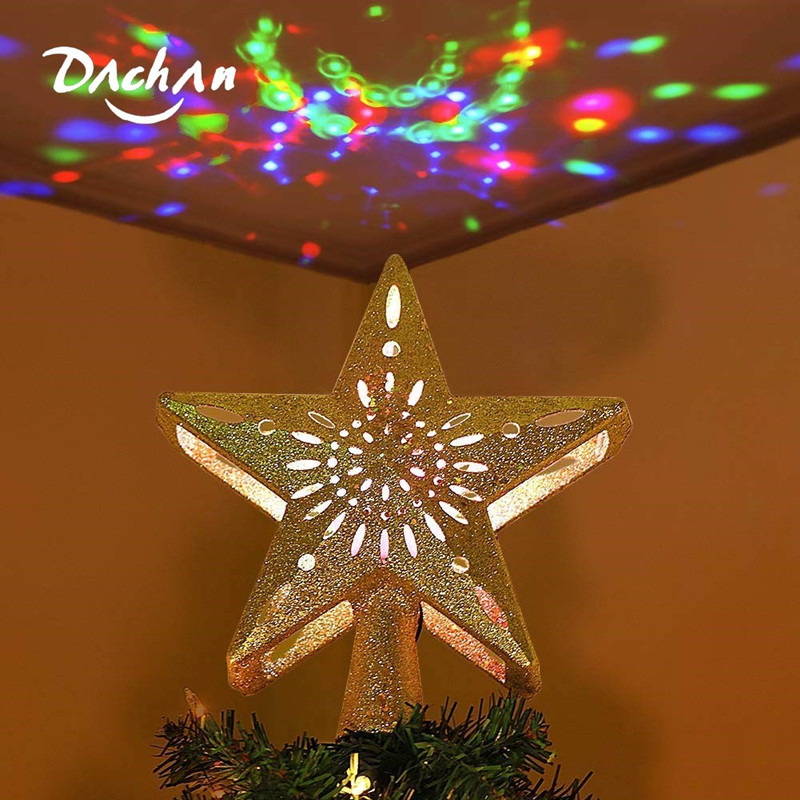 Gold Star Christmas Tree Topper, Glitter Lighted Star Tree With Adjustable Rotating Magic Rainbow Projector Light