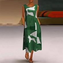 Dress Robe Plus-Size Women's Office Bohemian Vintage Casual Sleeveless Print Daily Female