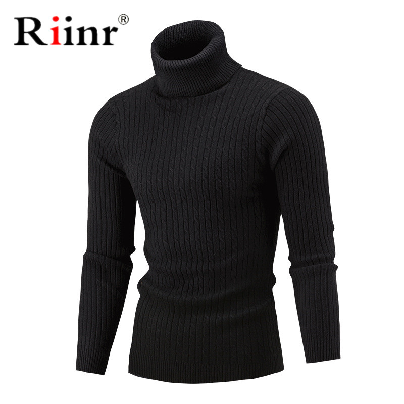 Riinr 2019 New Autumn Winter Men'S Sweater Men'S Turtleneck Solid Color Casual Sweater Men's Slim Fit Brand Knitted Pullovers