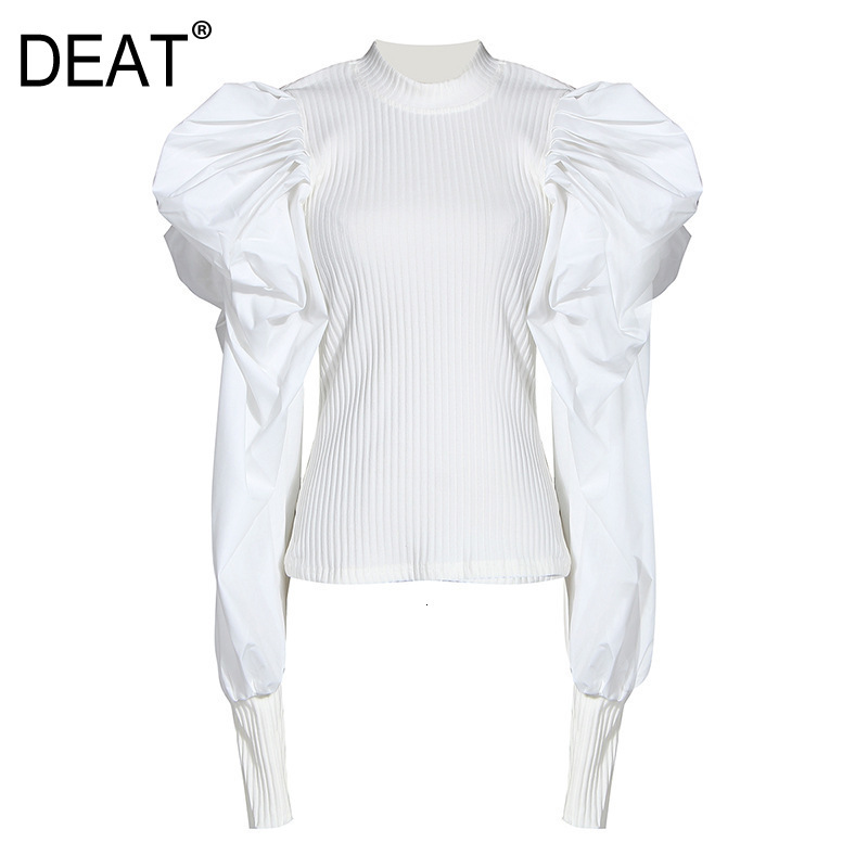 DEAT 2020 Autumn And Winter New Products Fashion Solid Color Puff Sleeve Round Neck Pullover Wild Knit Sweatshirt Female PB021