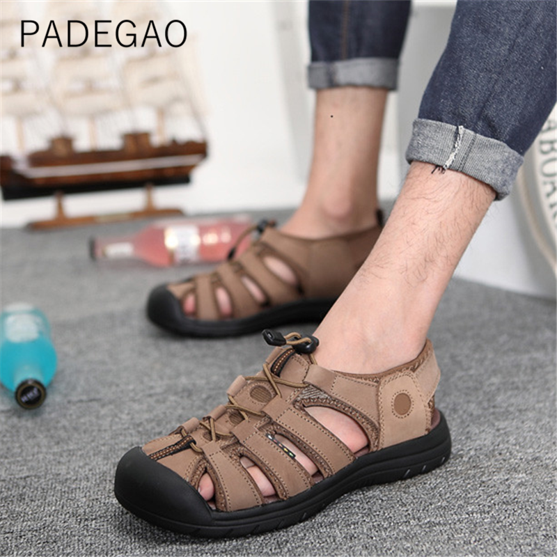 Summer Casual Mens Sandals  Genuine Leather Plus Size  Gladiator Beach Fashion Sandal