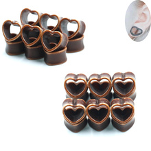 1Pair Fashion Ear Plugs Wood Flesh Tunnels Heart  Tunnel Double Flare Hollow Body Piercing Expanders Jewelry Gauges