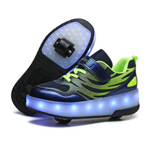 Shoes Kids Sneakers Wheels Girls Boys Children with Remote-Control Usb-Charging Led