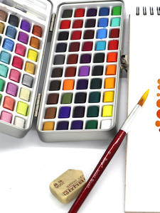 Watercolor-Set Paint Art-Supplies Neone 90color Portable Pearl New for Basis