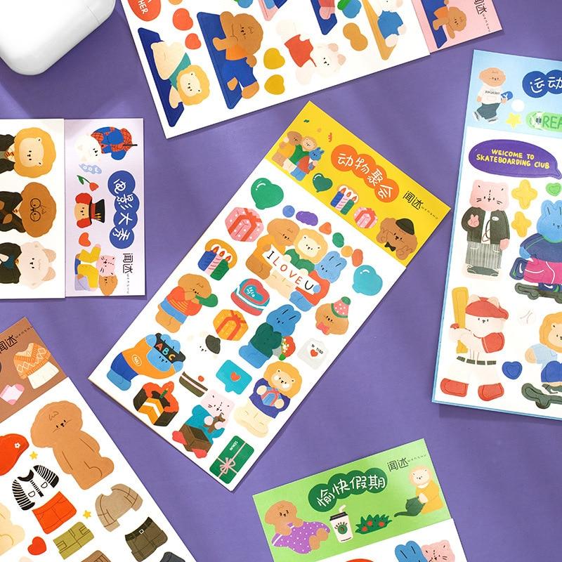 Mohamm 2 шт милые животные общества наклейки украшения Скрапбукинг Бумага креативные канцелярские товары для школы