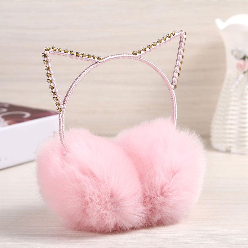Lovely Rhinestone Cat Ears Plush Earmuffs For Women Winter Faux Fur Ear Warmers Ear Muffs Cute Comfort Ear Protector For Girls
