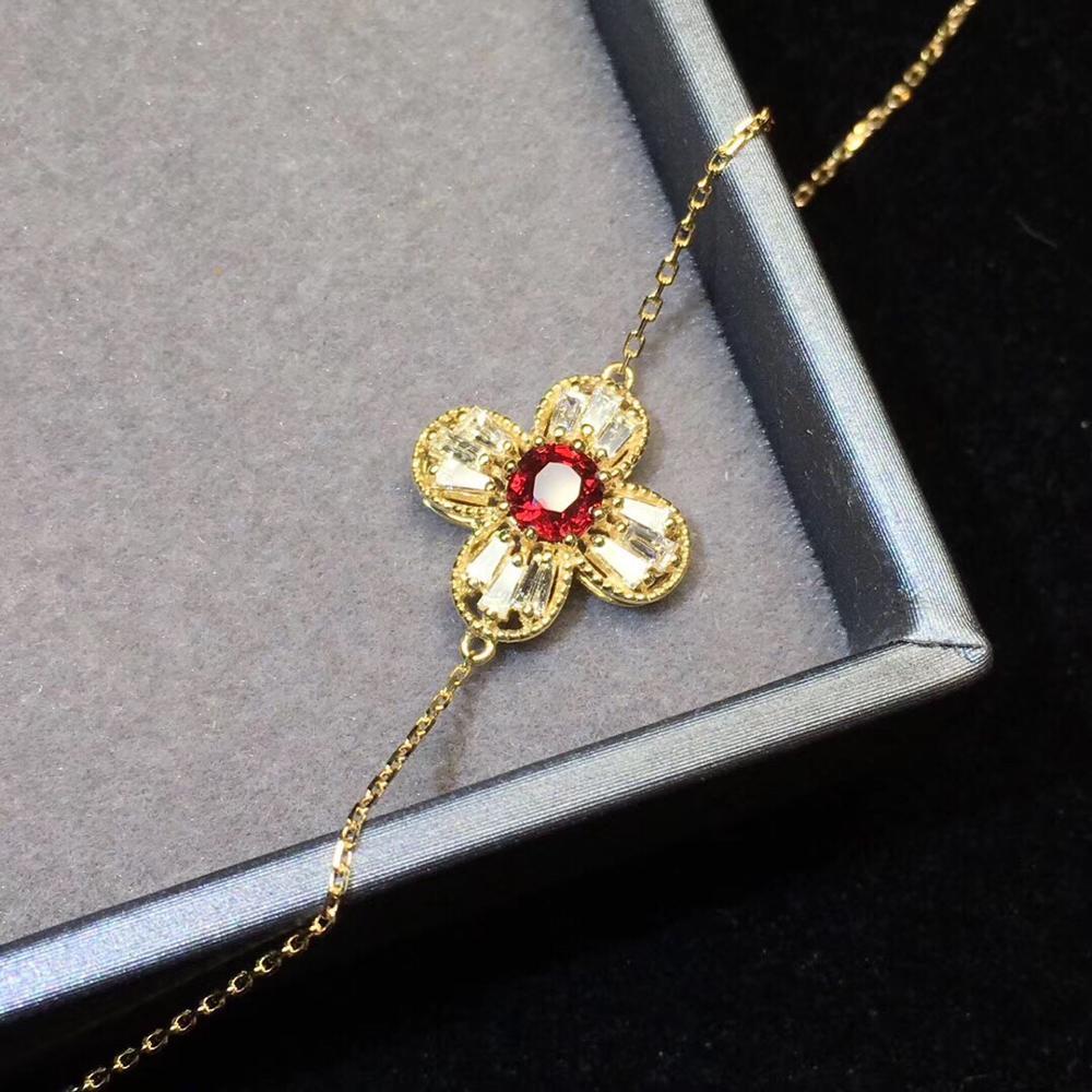 Bijoux fins véritable Pure18 K or AU750 G18K 100% pierres précieuses rubis rouge naturel 0.57ct bijoux bracelets pour femme Bracelet fin