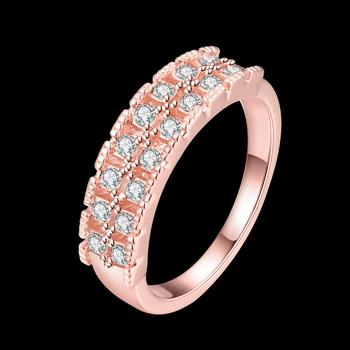 Fashion Romantic Rose Gold Plated Ring with Double Row of Shiny Rhinestones Elegant Style for Women Party Jewelry Gift AKR012 image